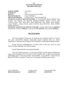 Karar No - 258 : 2016 Yılı Gelir Tarife Cetvelleri