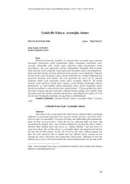 Uşaklı Bir Eşkıya: Acemoğlu Ahmet - Sosyal Bilimler Dergisi