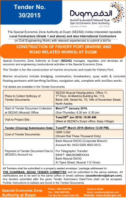 Tender No. 30/2015 – Construction of Fishery Port (Marine and