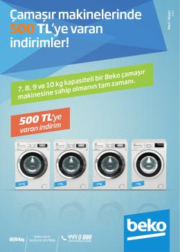 Çamaşır makinelerinde 500TL`ye varan indirimler!