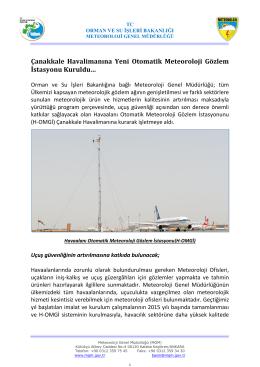 Çanakkale Havalimanına Yeni Otomatik Meteoroloji Gözlem