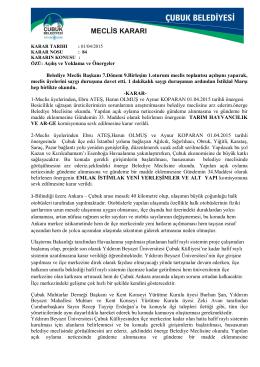 2015 yılı nisan ayı meclis kararları