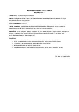 Proje Geliştirme ve Yönetimi - I Dersi Proje Aşama