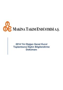 27.03.2015 Tarihli 2014 Yılı Olağan Genel Kurul Toplantı Gündemi