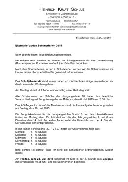 Elternbrief zu den Sommerferien 2015 - Heinrich-Kraft
