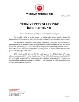 türkiye petrollerinde ikinci altın yıl