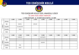 TED ESKİŞEHİR KOLEJİ ÖZEL ANADOLU LİSESİ