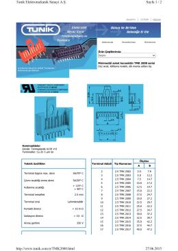 Sayfa 1 / 2 Tunik Elektromekanik Sanayi A.Ş. 27.06.2015 http://www
