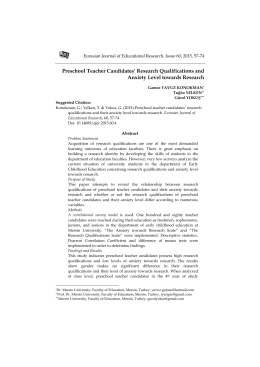 Preschool Teacher Candidates` Research Qualifications and