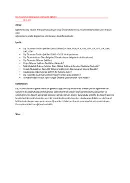 Dış Ticaret ve Operasyon Uzmanlık Eğitimi 3E-L