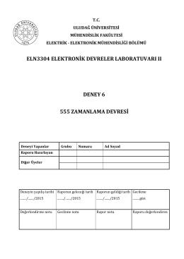 6. Deney - Elektrik-Elektronik Mühendisliği Bölümü | ULUDAĞ