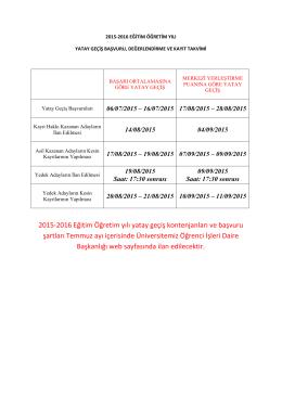 2015-2016 Eğitim Öğretim yılı yatay geçiş kontenjanları ve başvuru