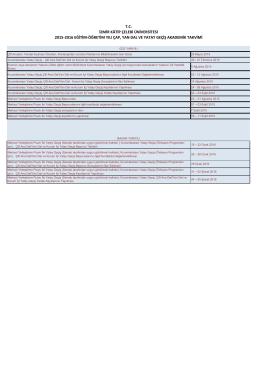 2015-2016 Eğitim-Öğretim Yılı ÇAP, Yan Dal ve Yatay Geçiş