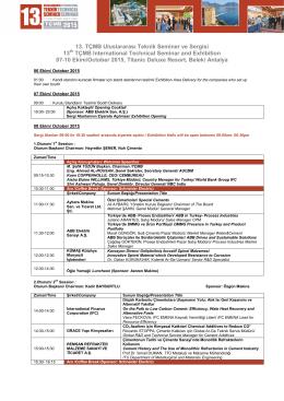 13.TÇMB Teknik Seminer Programı