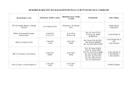 hemşirelik bölümü 2015 bahar dönemi final ve bütünleme sınav