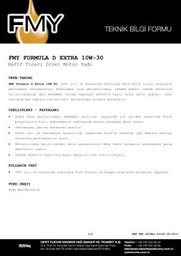 FMY FORMULA D EXTRA 10W-30 Hafif Ticari Dizel Motor Yağı