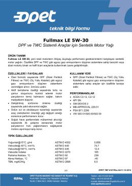 Fullmax LE 5W-30 - Opet Madeni Yağları