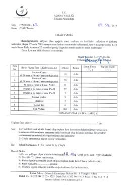 ADANA VALiLidi Adresi : Mustafa Kemalpaga Bulvarr No