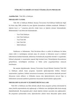 Türk Dili ve Edebiyatı - Sosyal Bilimler Enstitüsü