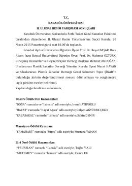 T.C. KARABÜK ÜNİVERSİTESİ II. ULUSAL RESİM YARIŞMASI