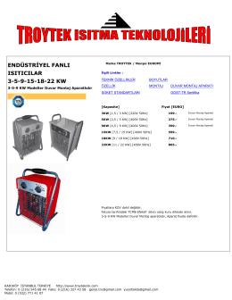 endüstriyel fanlı ısıtıcılar 3-5-9-15-18