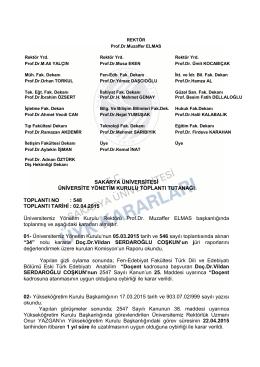 02.04.2015 Üni - SENATO / ÜYK Kararları