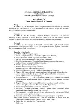 Uzmanlık Eğitimi ve Sınav Yönergesi - Tıp Fakültesi