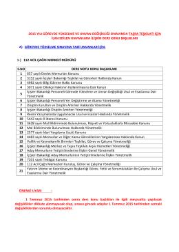 2015 yılı görevde yükselme ve unvan değişikliği sınavında taşra