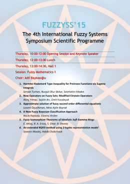 The 4th International Fuzzy Systems Symposium Scientific Programme