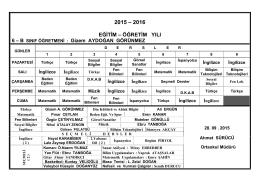 2015 – 2016 EĞİTİM – ÖĞRETİM YILI 6