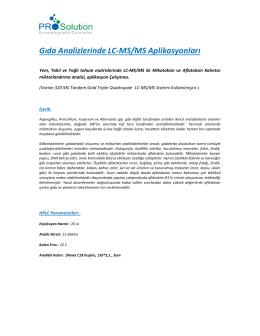 Gıda Analizlerinde LC-MS/MS Aplikasyonları