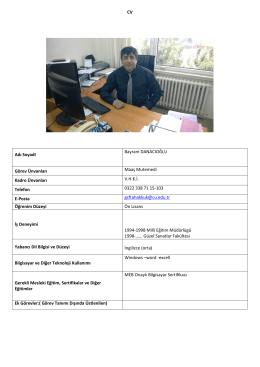 CV Adı SoyadI Bayram DANACIOĞLU Görev Ünvanları Maaş