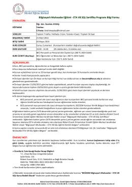 Bilgisayarlı Muhasebe Eğitimi - ETA V8 SQL Sertifika