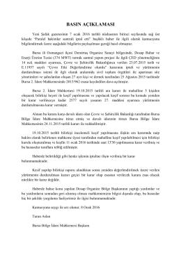 basın açıklaması - Bursa Bölge İdare Mahkemesi Başkanlığı