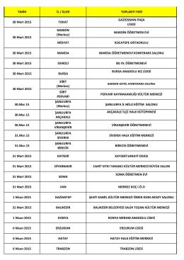 TARİH İL / İLLER TOPLANTI YERİ 30 Mart 2015 TOKAT