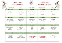 2015 – 2016 eğitim yılı ekim ayı yemek listesi