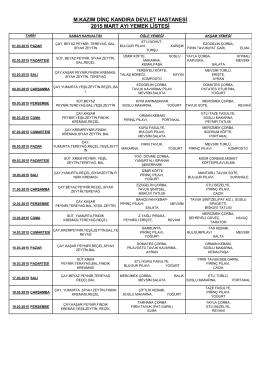 m.kazım dinç kandıra devlet hastanesi 2015 mart ayı yemek listesi