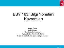 BBY 163: Bilgi Yönetimi Kavramları