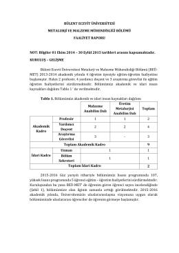Bölüm Faaliyet Raporu - Bülent Ecevit Üniversitesi – Metalurji ve