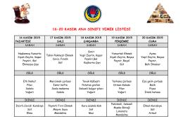 16-20 kasım ana sınıfı yemek listesi