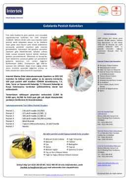 Gıdalarda Pestisit Kalıntıları