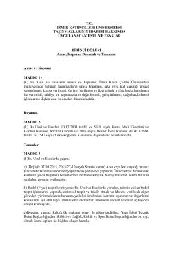 İzmir Katip Çelebi Üniversitesi Taşınmazların İdaresi Hakkında