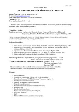 Mekatronik Sistemlerin Tasarımı_Tanıtım 2015 Güz-01-10-2015