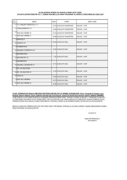 2015/2016 eğitim öğretim yılı 1. dönem sorumluluk sınav programı