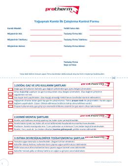 Yoğuşmalı Kombi İlk Çalıştırma Kontrol Formu 1.DOĞAL
