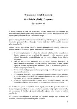 Uluslararası Şeffaflık Derneği Özel Sektör İşbirliği Programı Üye