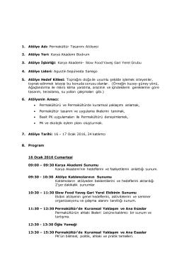 Permakültür Tasarımı Atölyesi 2. Atölye Yeri: Karya Akademi