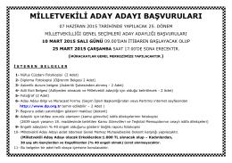 milletvekili aday adayı başvuruları