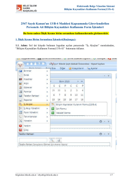 Bilişim Kaynakları Kullanım Formu (13/b-4)