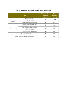 2015 Dönemi TMO Müdahale Alım ve Satışı